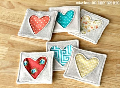 Fabric Heart Coasters