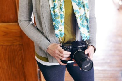 Gathered Fabric Camera Strap