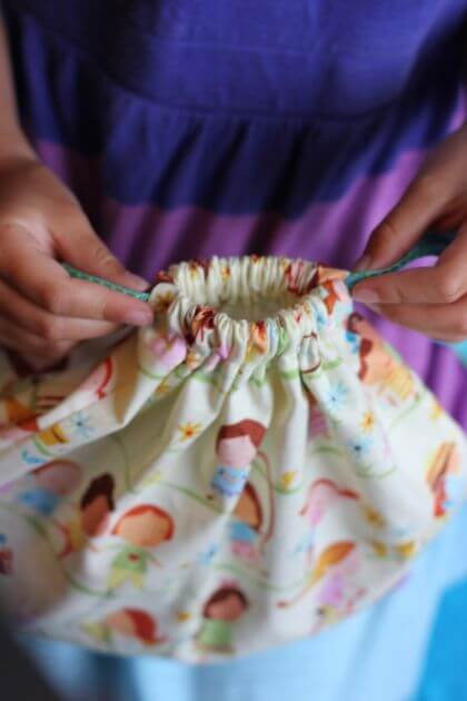 DIY drawstring snackbag